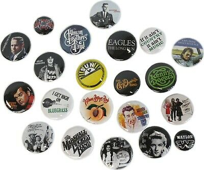Country Western Music Band Buttons Pins Badges 20+ DESIGNS Mix & Match Gifts