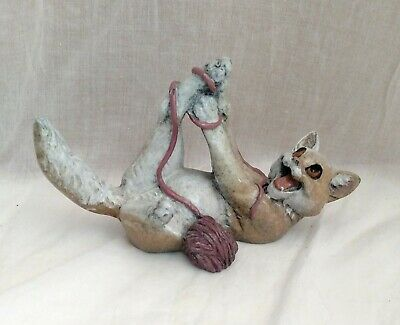 Kitty's Kennel Rascal Collectible Cat With Yarn Figurine
