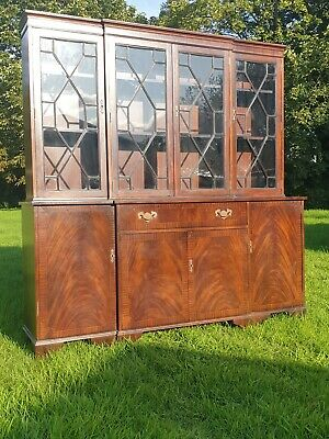 Very Large Vintage Flame Mahogany Four Door Bookcase Display Cabinet