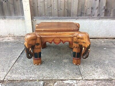 Solid Oak 4 Sided Carved Elephant Side End/Coffee Table