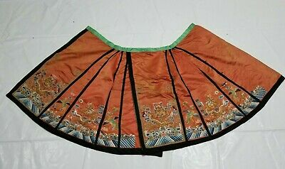 Antique Chinese 19thC Hand Embroidered Dragon Qing Dynasty Figurative Skirt