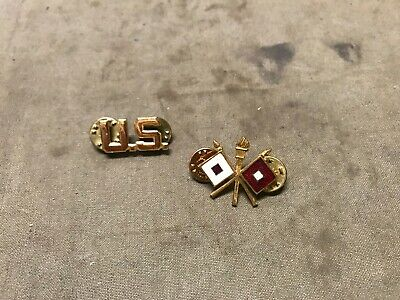 10Y Original Wwii Us Army Class A Signal Corp Officer Tunic Collar Insignia