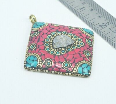 925 Tibetan Brass Turquoise And Red Coral Mix Pendant Lo139