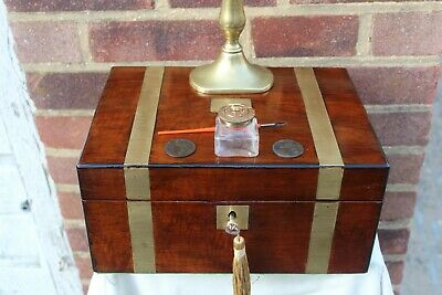 ACE c 1880 BRASS INLAY MAHOGANY WRITING SLOPE BOX  INK WELL DIP PEN LOCKING +