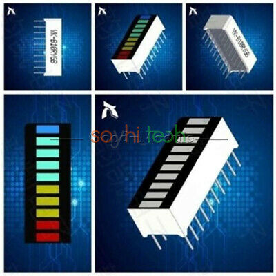 2PCS New 10 Segment Led Bargraph Full Color Light Display Red Yellow Green Blue