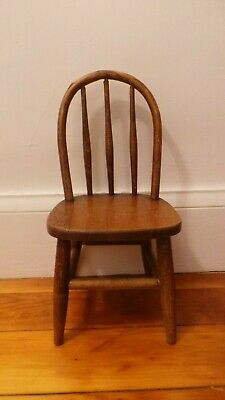Antique American Spindle Bow Back Bentwood Child's Chair Peg Legs
