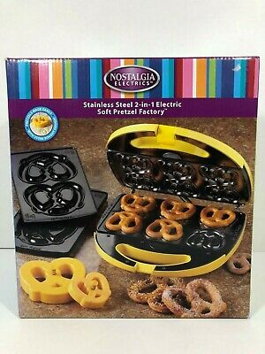 Nostalgia Stainless Steel 2-in-1 Electric Soft Pretzel Factory Maker NIB