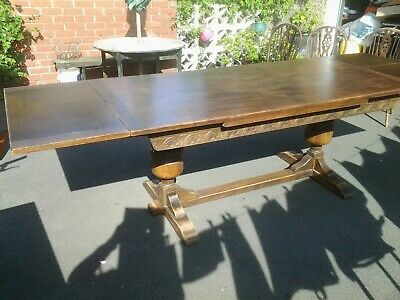 Antique Oak  Large Refectory  Drawleaf Table with Bulbous Carved Legs