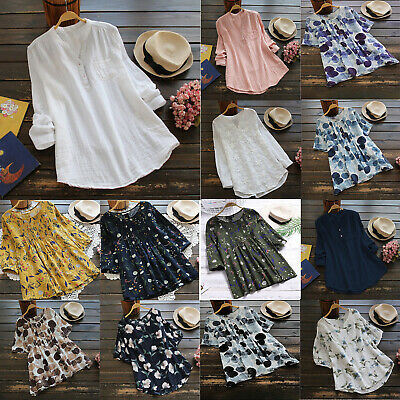 Womens Plus Size Floral Cotton Blend Blouse Summer Pullover Loose Casual Tops