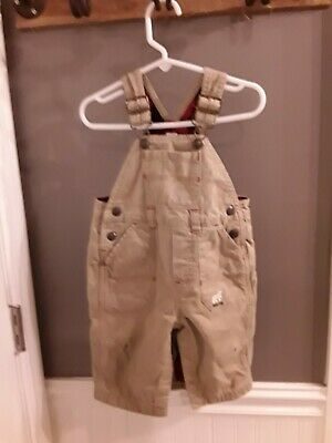 Boys Baby Gap brown  Bib Overalls Flannel Lined  Sz 6/12 mths GUC 😊FAST SHIP 😊