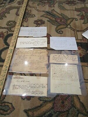 Vtg 1800's Paper Handwritten Receipts for Property Paid/ 1804 1807 1844 Etc LOT