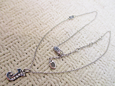 Juicy Couture Silver Jeweled Letter J Pendant Charm Necklace 18 Designer Jewelry
