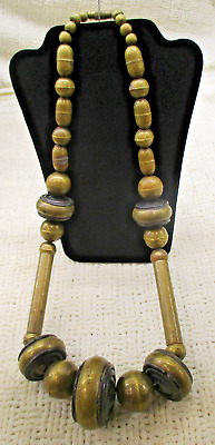 Tribal Brass Ethnic Boho Folk Art Barrel Bead Necklace Vg Antique Estate Jewelry