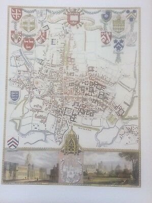 City & University Oxford Antique Colour Map Thomas Moule County Maps Old England