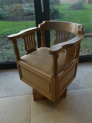 Superb Bespoke Arts & Crafts BEAVERMAN Medium Oak Swivel Desk Office Monks Chair