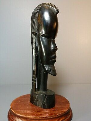 Hand Carved African Woman Tribal Solid Wood Bust Sculpture Statue Head Elongated