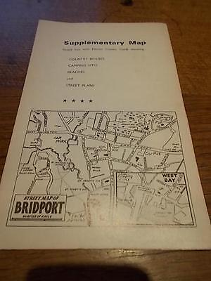 c1960 Pull Fold Out Map DORSET Golf courses Poole Dorchester Bridport Weymouth