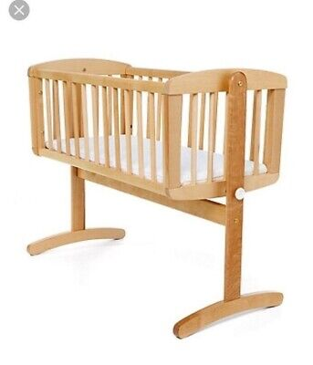 Mothercare Baby Wooden Rocking Cradle Crib Cot Natural Wood With Mattress