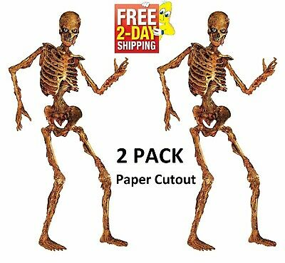 6 ft Life Size Jointed Skeleton Halloween Haunted House Decoration Props 2 Pack