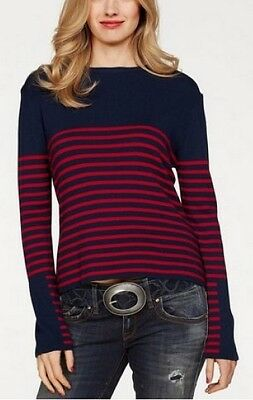 Femmes Neuf Bleu-Rouge rayures viscose stretch LTB Tricot Pull Taille XS 32-34