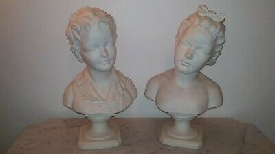 Beautiful European large pair antique bisque porcelain bust sculptures boy girl