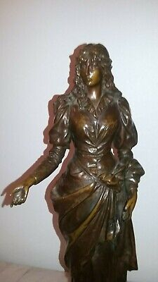 Antique French neoclassical figural woman bronze sculpture red marble base 1870s