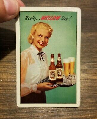 Vintage 1940's City Club Mellow Dry Beer JOKER Playing Card