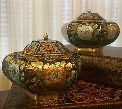 Vintage/Antique Japanese/Chinese cloisonne Brass Enamel Painted Urns/Vases