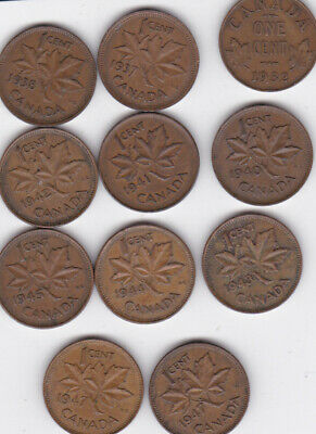 1932 to 1947  Canada Copper One Cent Lot x 11 coins LOOK