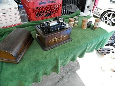 Vintage Edison Standard Phonograph & 3 Cylinders Estate Find