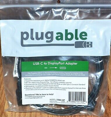 Plugable USBC-DP USB-C to DisplayPort Adapter 6 ft Cable