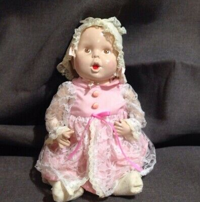 Vintage Porcelain Ceramic Jointed Hand Painted Girl Baby Doll