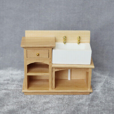 1/12 Dollhouse Miniature Furniture/Kitchen Sink/Plain Wooden Wash Basin