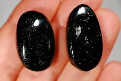 2 BLACK TOURMALINE TUMBLED STONES 20g Healing Crystals, Luck Happiness