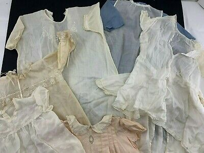 Lot Antique Vintage Cotton Linen Girls Baby Clothing  Dresses Christening Gown