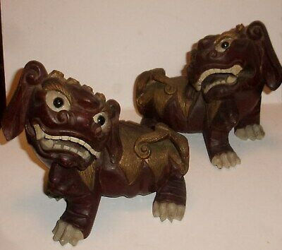 Match Set Very Rare Antique Hand Carved Wood Foo Dogs