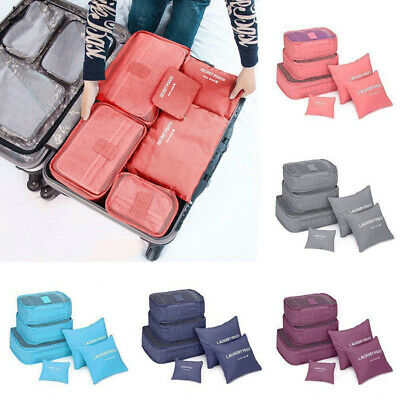 6Pc Packing Cubes Travel Pouch Luggage Organiser Clothes Suitcase Storage Bag AU