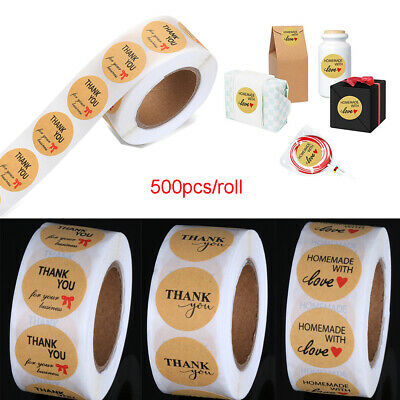 500PCS/Roll Kraft Thank You Label Sealing Stickers Package Label Party Decor