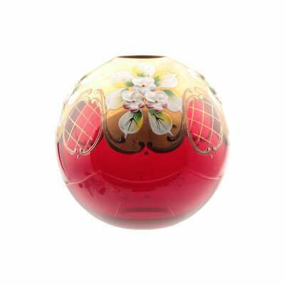 "3.8"" vintage Czech hand floral enamel painted red glass chandelier stem ball"