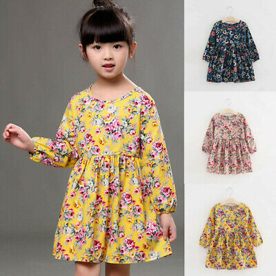 Toddler Kids Baby Girls Long Sleeve Floral Princess Dress Party Pageant Dresses