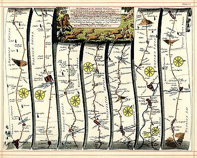 OGILBY Strip Map OGILBY London to Abingdon, Banbury to Bridgnorth then Campden