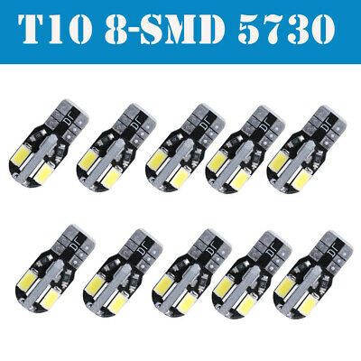 10 CANBUS T10 Wedge 8 SMD Parker Number Plate LED Bulbs W5W 194 168 131 WHITE AU