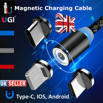 UK 360° Rotation Strong LED Magnetic USB Charging Cable For Android Samsung IOS