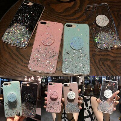 Glitter Case Soft TPU Case with Pop Up Socket Phone Holder For iPhone XR XS 7 8