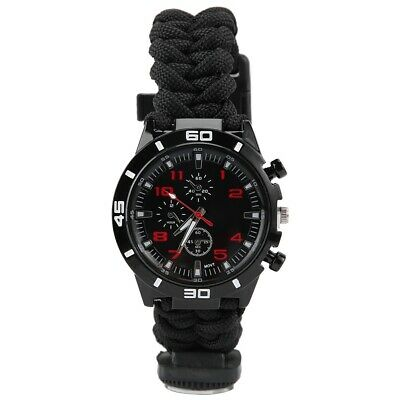 Multi-Function Outdoor Survival Umbrella Rope Woven Dual Compass Whistle Watch