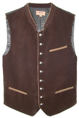 Maddox Men's Traditional Costume Velvet Vest Zwiesel Dark Brown to Leather Size
