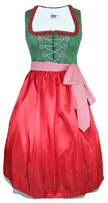Country Line Ladies Midi Dirndl Lucia 70cm Green Red Traditional% Sale % Size 36