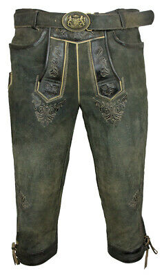 Maddox Men's Knee-Breeches Leather Pants Schönsee with Belt Antik Smoke Costumes
