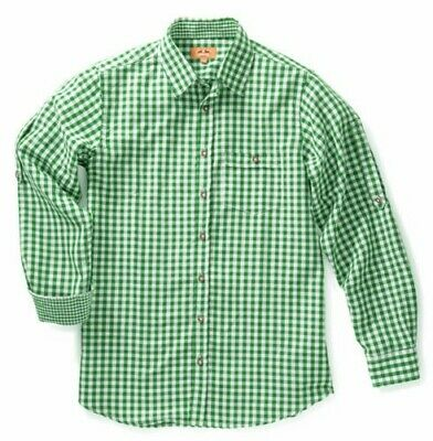 Maddox Slim Fit Traditional Shirt Niels - Green White Checked Men's Leather