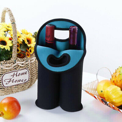2 Bottle Neoprene Cooler Wine-bottle Bag Protective Heat Insulation Cover Sleeve
